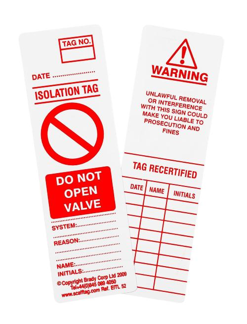 10 X Valve Tag Inspection Insert Kit