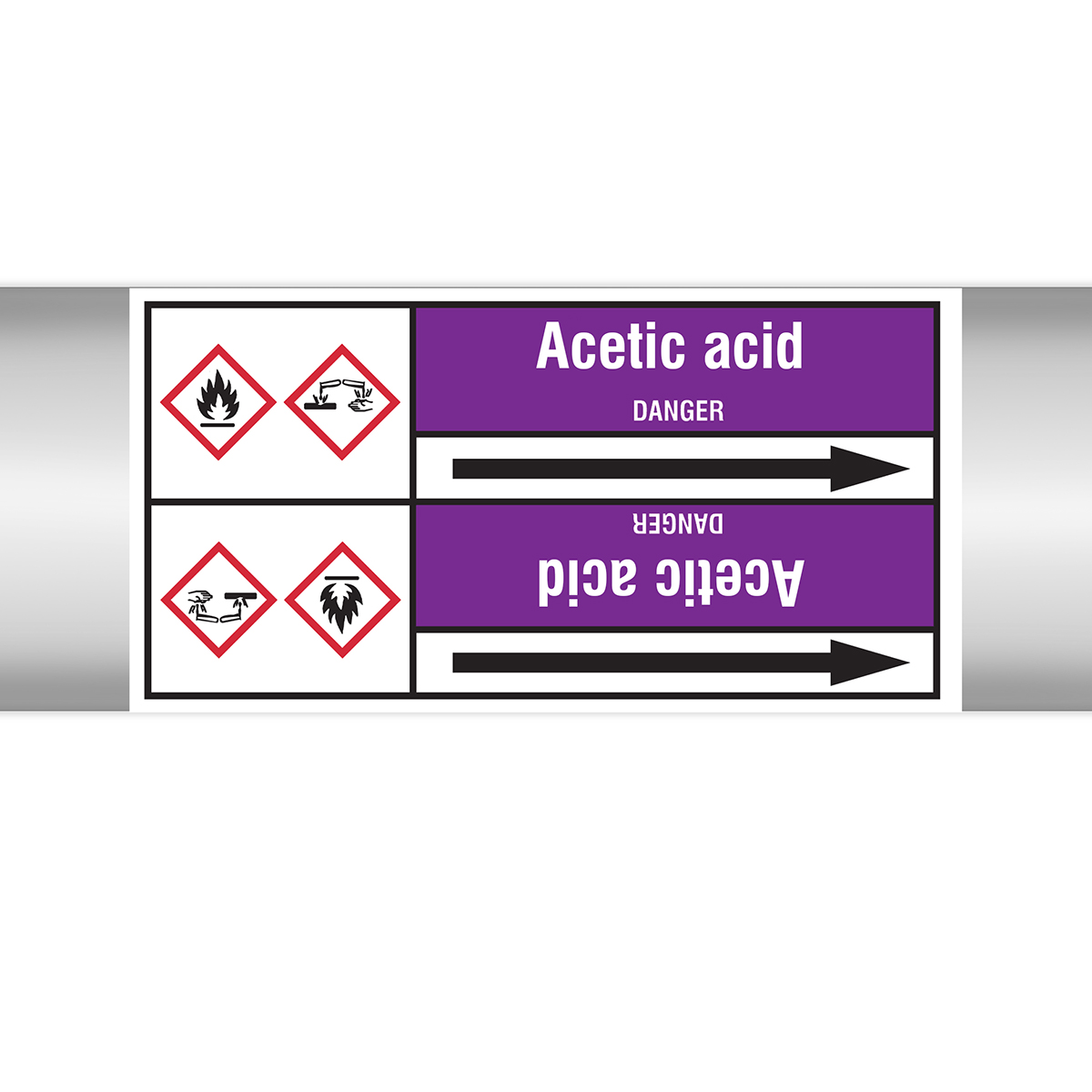 Acids & Alkalis - European Style roll form pipe markers with liner