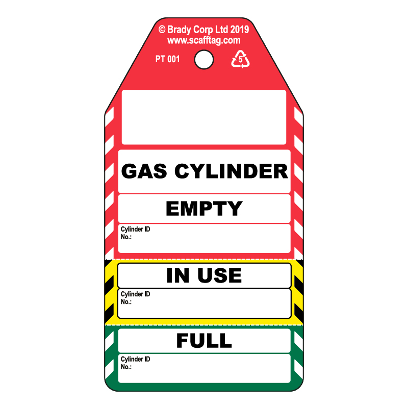 50 x Gas Cylinder  3 Part Tags