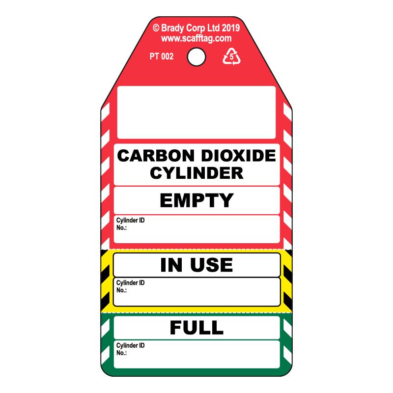 50 x Carbon Dioxide Cylinder 3 Part Tag