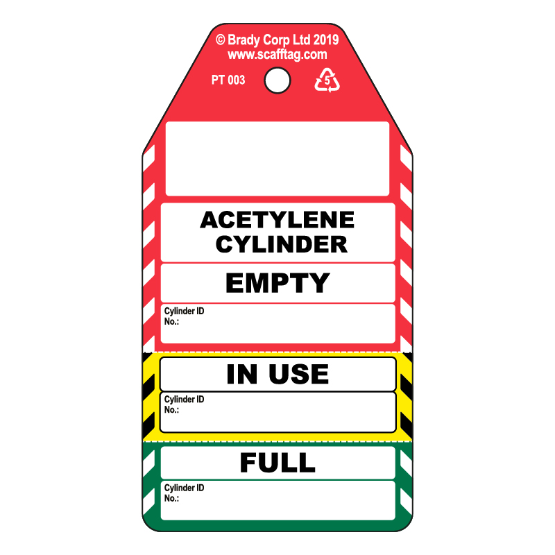 50 x Cylinder Tags 3 Part - Acetylene