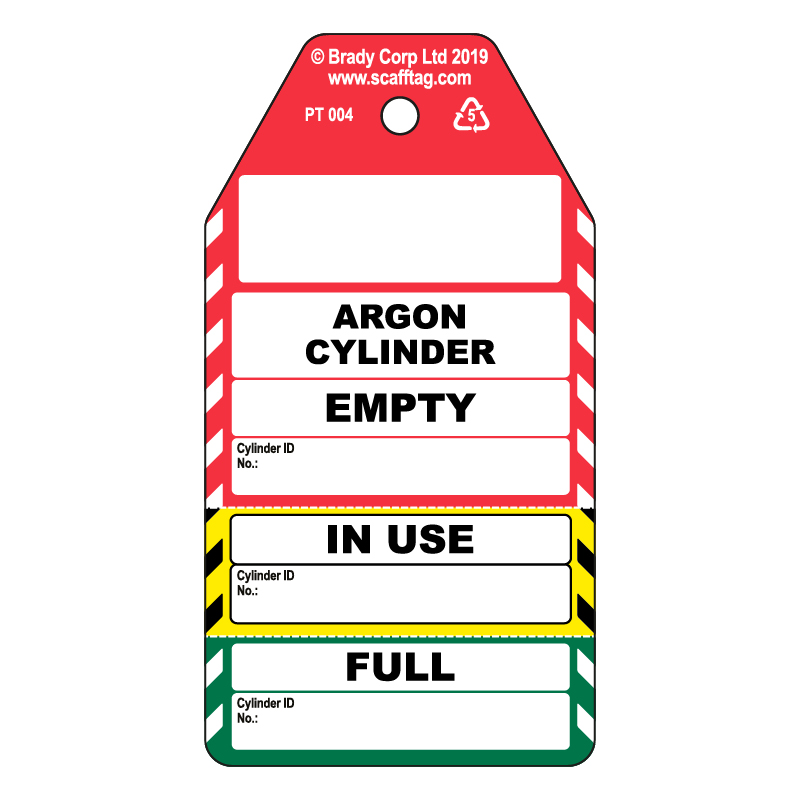 50 x Acetylene Cylinder 3 Part Tags