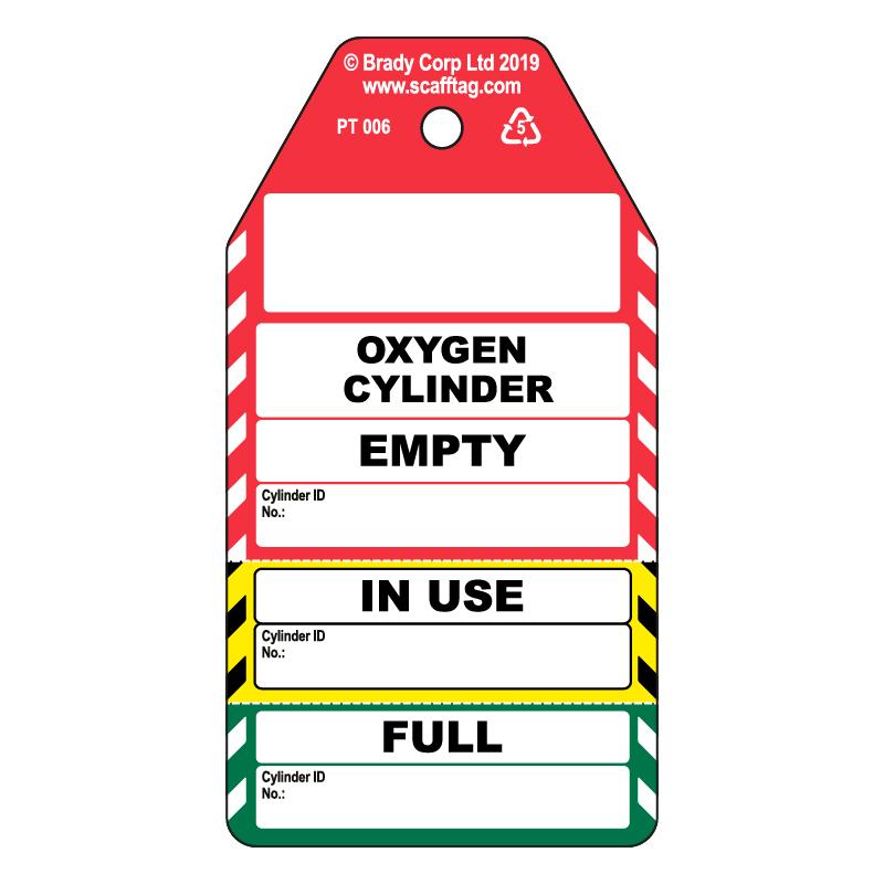 50 x Cylinder 3 Part Tags - Oxygen