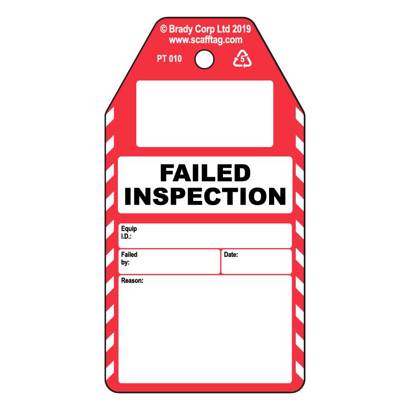 50 x Failed Inspection tags