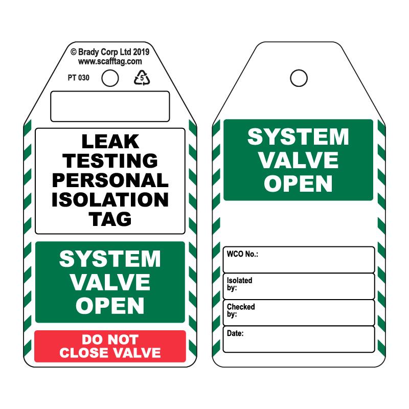 50 x Leak Testing Tag - Open