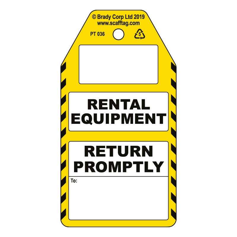 50 x Rental Equipment - Return Promptly Tags