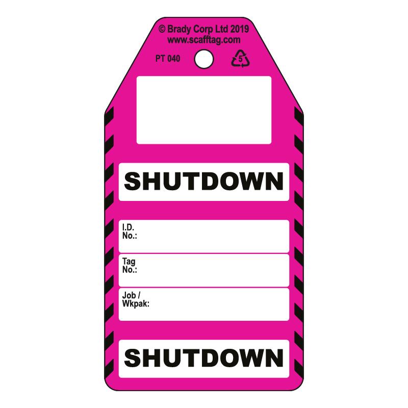 50 x Shutdown Tags