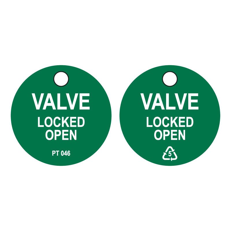 50 x Valve Locked Open Tags