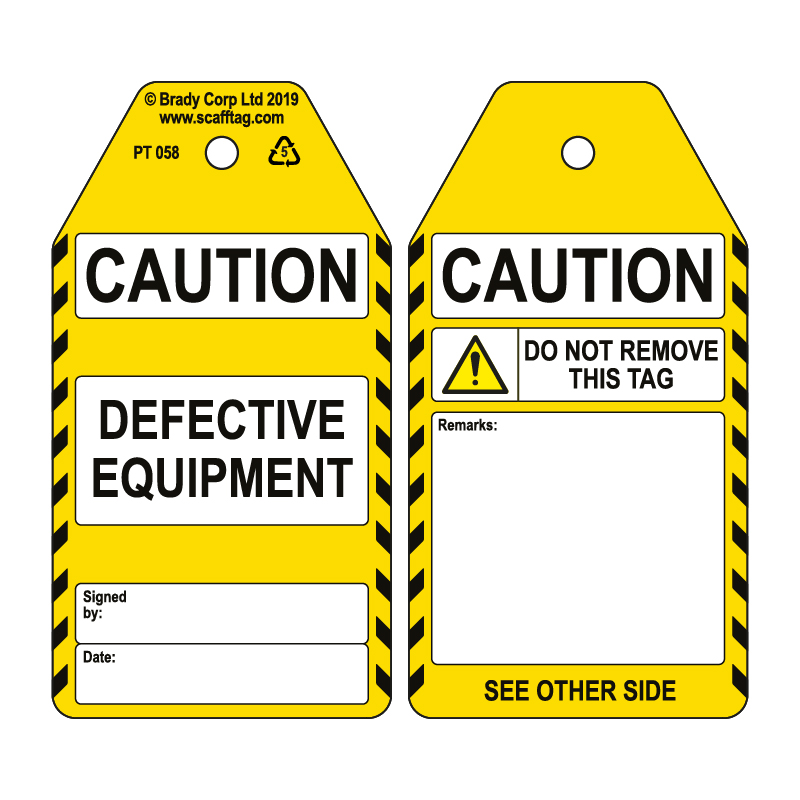 50 x Defective Equipment Tags