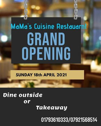 Mama's Cuisine Restaurant Grand Opening We are finally opening our doors to the public on Sunday 18th April, 2021. Learn more about our exciting grand opening!