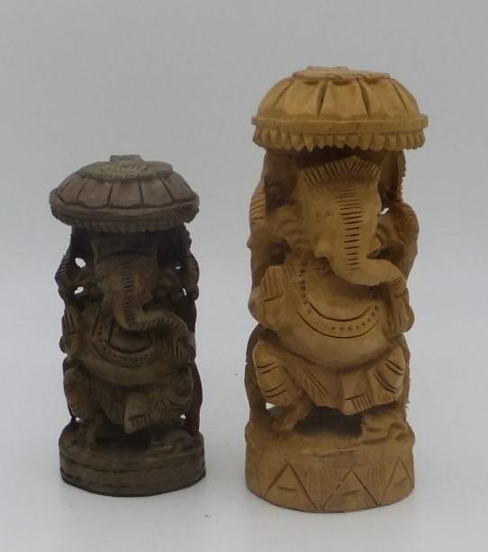 Carved Wooden Ganesh Incense Burners