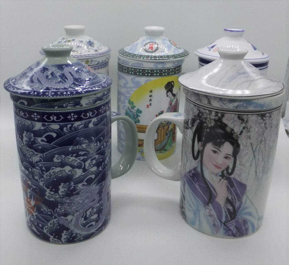 Chinese Tea / Herb Mugs with Strainer and Lids
