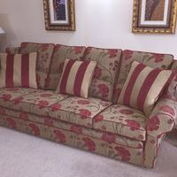 Learn to make slipcovers online, Frances created this Chaise from my online tutorials.