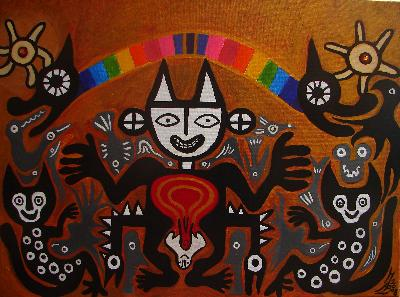 BRINGING FORTH: The Rainbow Incarnation of QuetzalcoatlAcyrlic paint on canvas2008OTHER WORLD JOURNEYS: IMELDA ALMQVIST ART